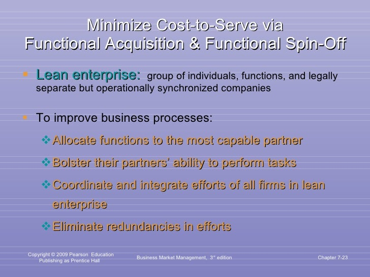 Minimize Cost-to-Serve via Functional Acquisition & Functional Spin-Off <ul><li>Lean enterprise:   group of individuals, f...