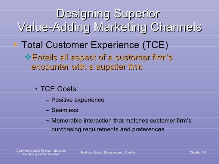 Designing Superior  Value-Adding Marketing Channels <ul><li>Total Customer Experience (TCE) </li></ul><ul><ul><li>Entails ...