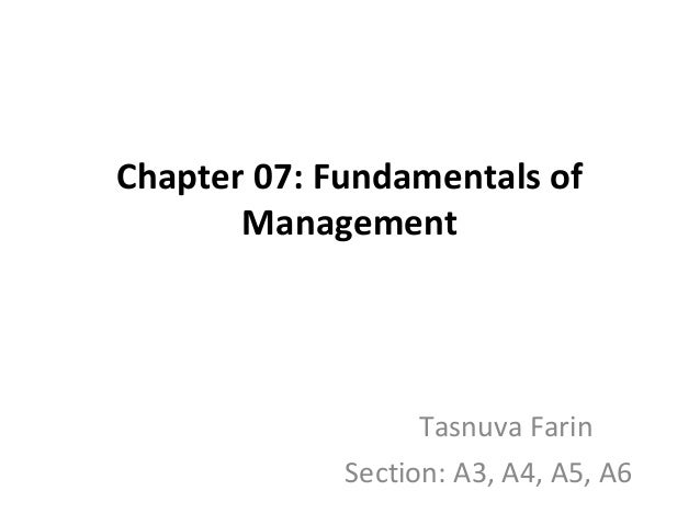 Chapter 07: Fundamentals of Management  Tasnuva Farin Section: A3, A4, A5, A6