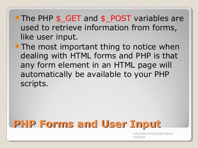 Chapter 07 php forms handling