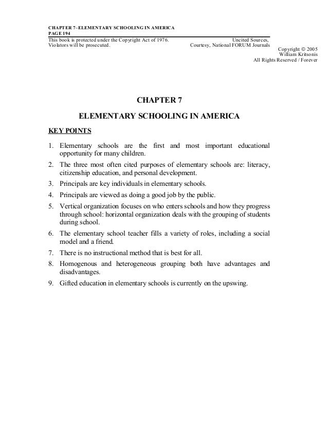 CHAPTER 7–ELEMENTARY SCHOOLING IN AMERICAPAGE 194This book is protected under the Copyright Act of 1976. Uncited Sources,V...
