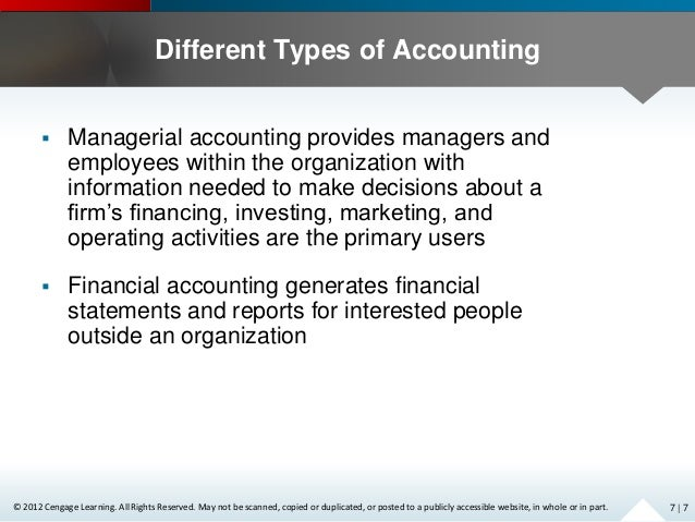assess the use of accounting information Internal users refer to managers who use accounting information in making decisions related to the company's operations external users, on the other hand, are not involved in the operations of the company but hold some financial interest.