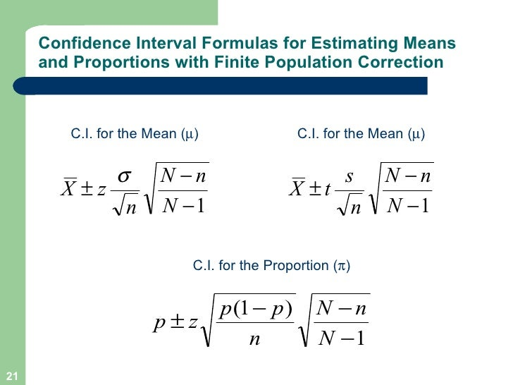 confidence interval for mean and proportional relationship