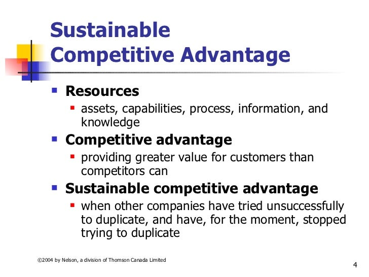 what is meant by sustainable competitive advantage essay Definition of sustainable competitive advantage: a long-term competitive advantage that is not easily duplicable or surpassable by the competitors businesses which have consistently high profitability typically have a sustainable competitive advantage such as a unique process, a patent.