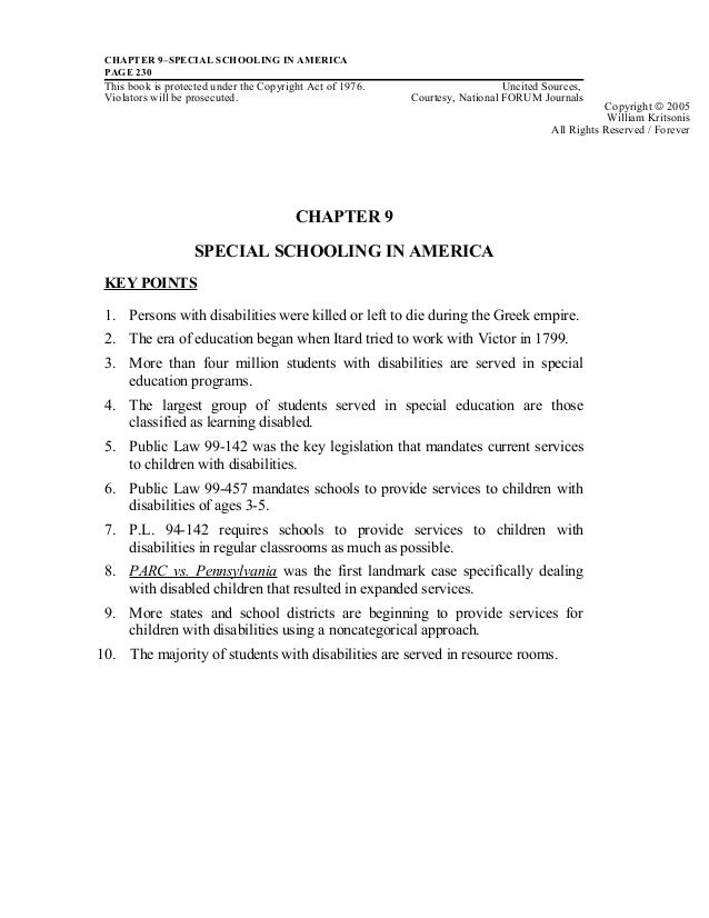 CHAPTER 9–SPECIAL SCHOOLING IN AMERICAPAGE 230This book is protected under the Copyright Act of 1976. Uncited Sources,Viol...