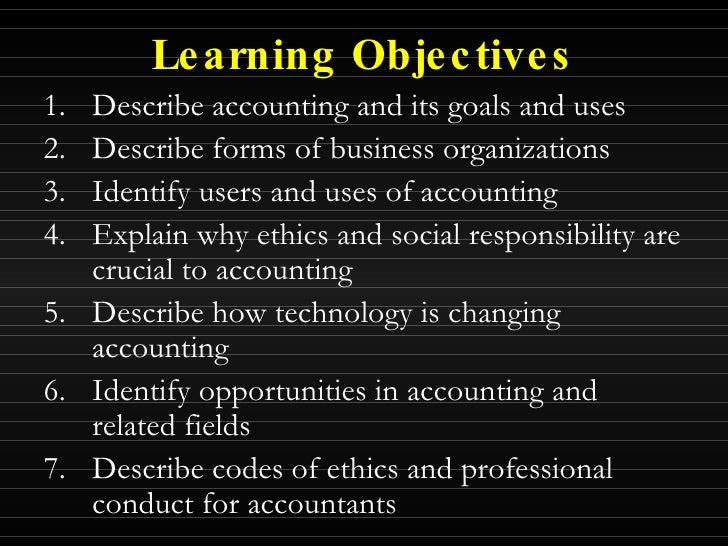 purpose of business organization in accounting
