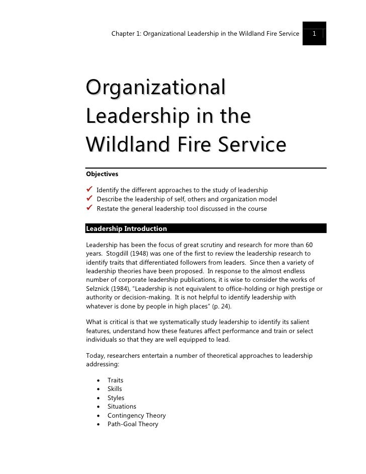 Chapter 1: Organizational Leadership in the Wildland Fire Service        1     Organizational Lea d er shi p i n t he Wild...