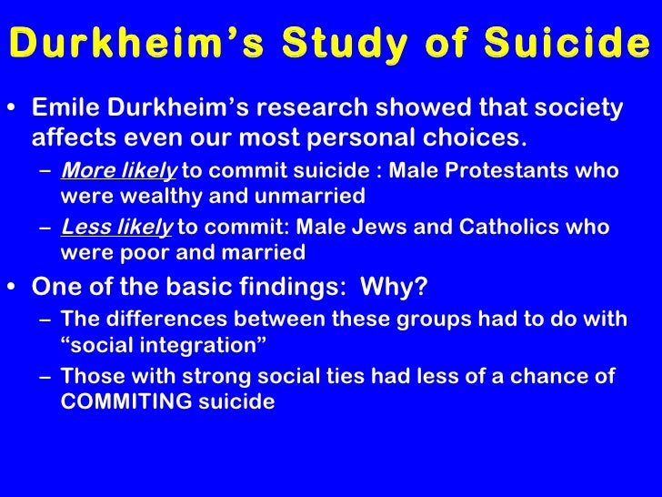 durkheims study of suicide A classic book about the phenomenon of suicide and its social causes written by one of the world's most influential sociologists emile durkheim's suicide addresses the phenomenon of suicide and its social causes written by one of the world's most influential sociologists, this classic argues.
