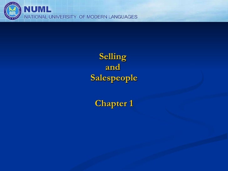 Selling  and  Salespeople Chapter 1