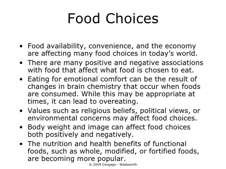 Food Choices Can Be Influenced By Such Environmental Influences As