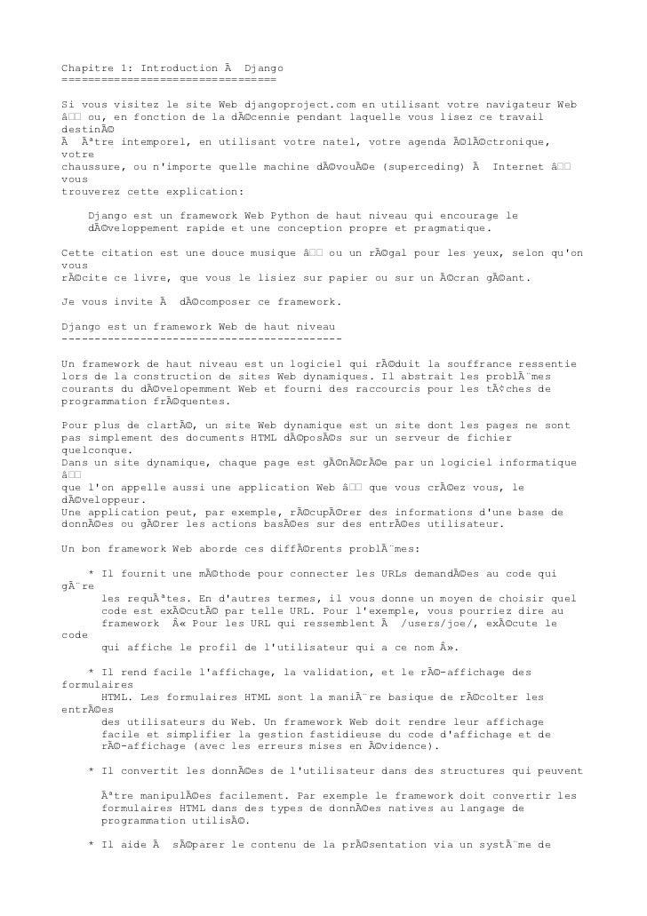 Chapitre 1: Introduction à Django=================================Si vous visitez le site Web djangoproject.com en utilisa...