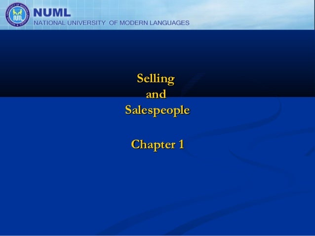 Selling    andSalespeople Chapter 1