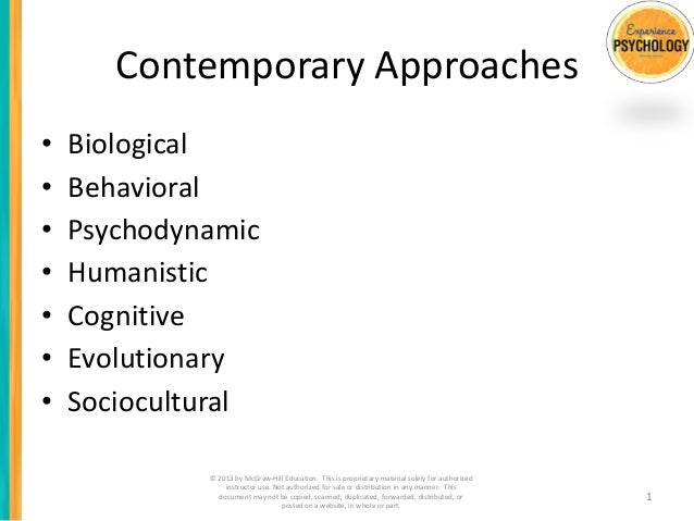 Contemporary Approaches•   Biological•   Behavioral•   Psychodynamic•   Humanistic•   Cognitive•   Evolutionary•   Sociocu...