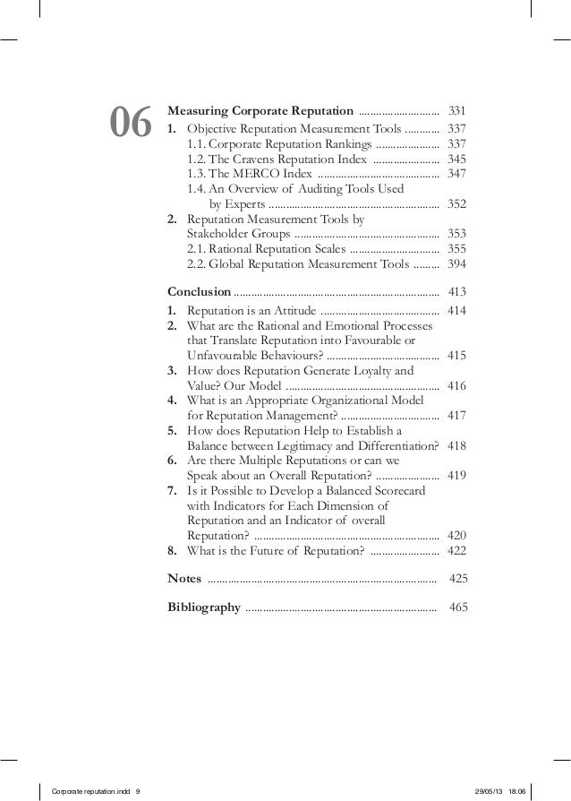 06 Measuring Corporate Reputation ............................. 3311. Objective Reputation Measurement Tools ..............