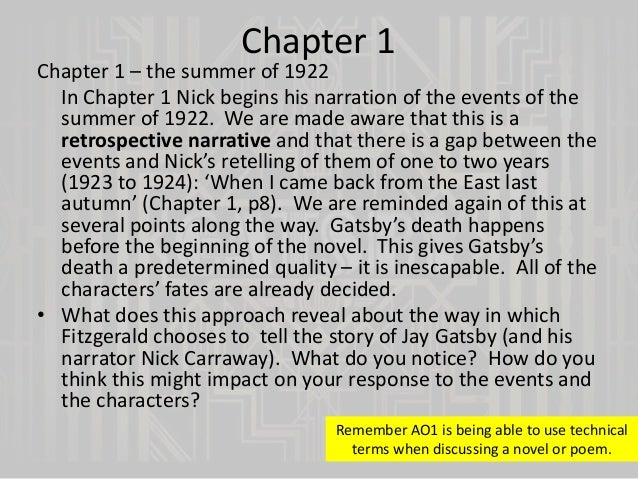 the great gatsby chapter summaries essay The great gatsby, f scott fitzgerald's 1925 jazz age novel about the impossibility of recapturing the past, was initially a failuretoday, the story of gatsby's doomed love for the unattainable daisy is considered a defining novel of the 20th century explore a character analysis of gatsby, plot summary, and important quotes.