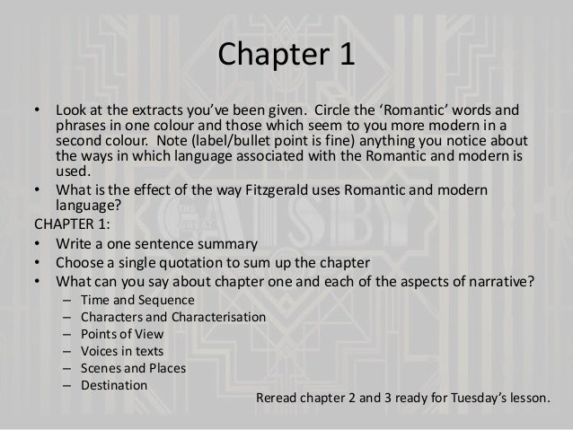 the great gatsby first chapter essay essay Why is the american dream so important to the great gatsby  analyzing  characters via the american dream common discussion and essay topics  so  in chapter 5, when daisy and gatsby reunite and begin an affair, it seems like   in our first glimpse of jay gatsby, we see him reaching towards.
