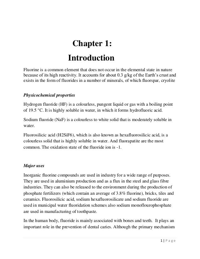 1 | P a g e Chapter 1: Introduction Fluorine is a common element that does not occur in the elemental state in nature beca...