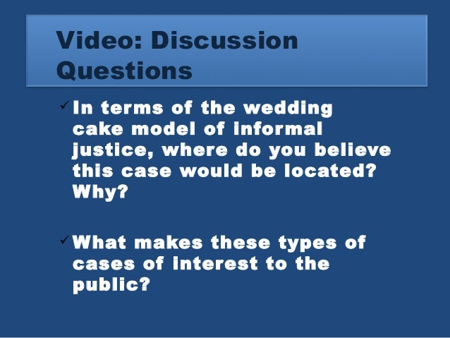 25 Video Discussion Questions In Terms Of The Wedding Cake Model Informal Justice