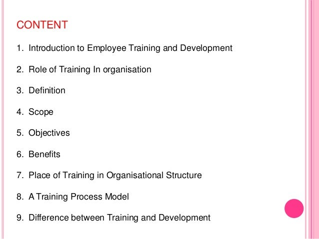 training and development benefits pdf