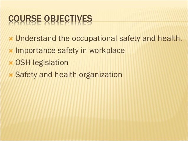 an introduction to the importance of occupational health and safety In providing workplace safety introduction  occupational and safety health act is the primary  the importance of workplace safety and reduce.