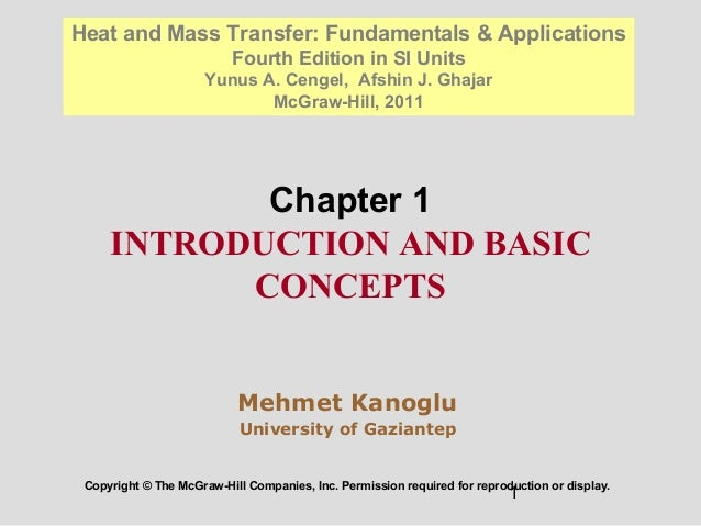 1 Chapter 1 INTRODUCTION AND BASIC CONCEPTS Copyright © The McGraw-Hill Companies, Inc. Permission required for reproducti...