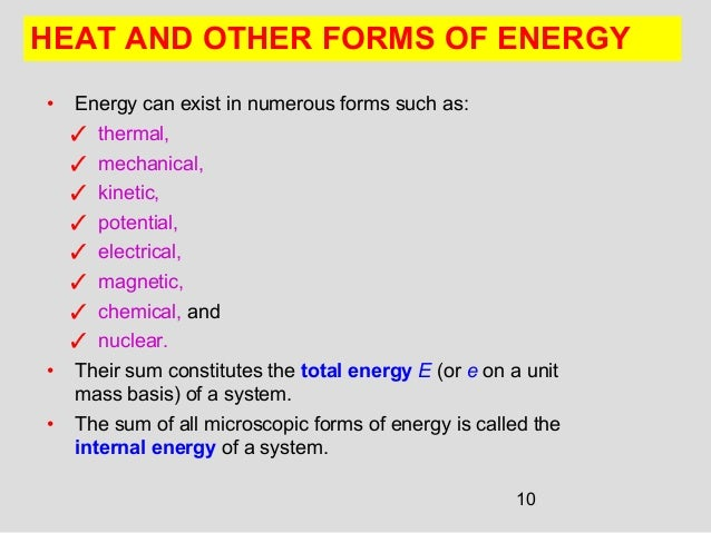 10 • Energy can exist in numerous forms such as: ✓ thermal, ✓ mechanical, ✓ kinetic, ✓ potential, ✓ electrical, ✓ magnetic...
