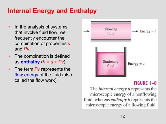 12 Internal Energy and Enthalpy • In the analysis of systems that involve fluid flow, we frequently encounter the combinat...