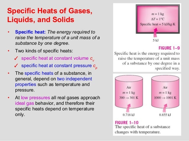 13 Specific Heats of Gases, Liquids, and Solids • Specific heat: The energy required to raise the temperature of a unit ma...