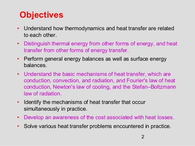 2 Objectives • Understand how thermodynamics and heat transfer are related to each other. • Distinguish thermal energy fro...