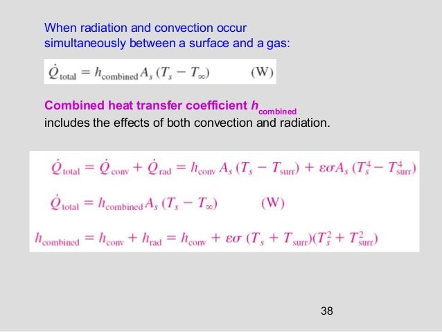 38 Combined heat transfer coefficient hcombined includes the effects of both convection and radiation. When radiation and ...