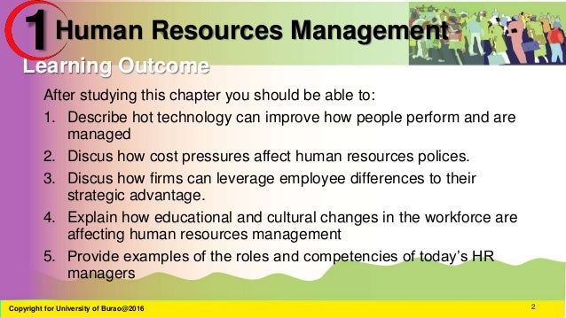 hrm chapter 1 notes Human resource management is the process of managing human talent to achieve the organization's goals great products, plans and services can be copied by competitors but no personnel human capital is intangible consisting of the knowledge and skills individuals have that provides an economic value .