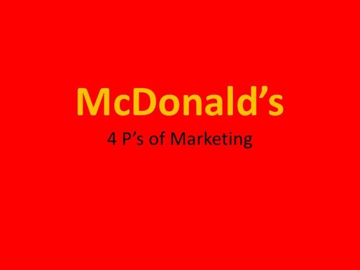 McDonald's4 P's of Marketing<br />