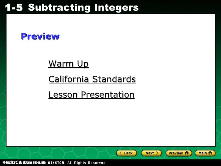 Holt CA Course 2 Warm Up California Standards Lesson Presentation Preview