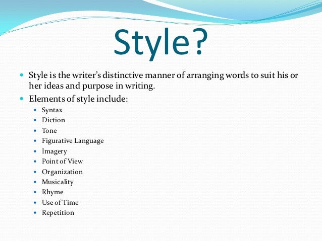 Types of literary style