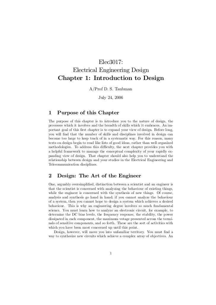 Elec3017:          Electrical Engineering Design      Chapter 1: Introduction to Design                          A/Prof D....