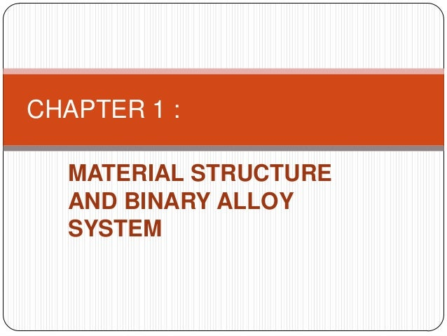 CHAPTER 1 :  MATERIAL STRUCTURE  AND BINARY ALLOY  SYSTEM