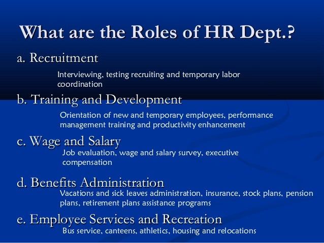 Role Of Personnel Human Resource Management
