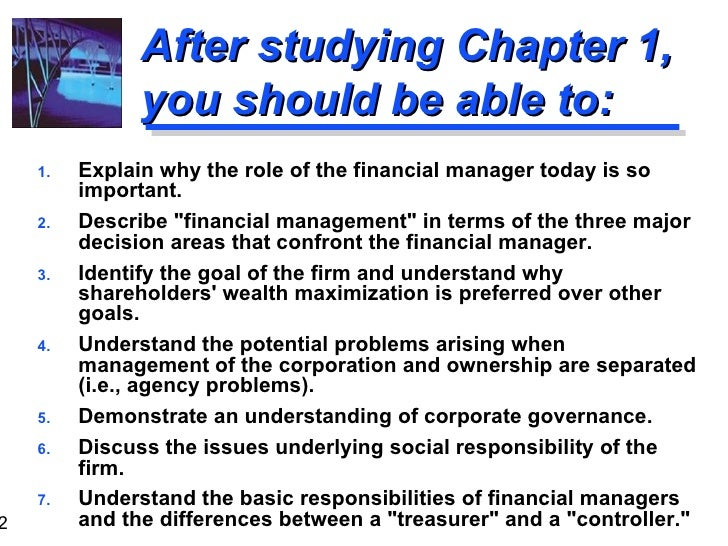 Chapter 1 - the role of financial management