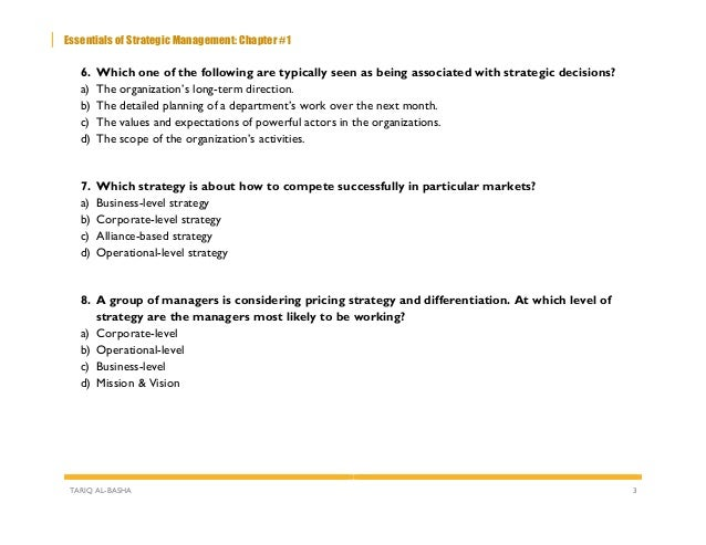 Chapter #1 - The Strategy-Making Process - Multiple Choice