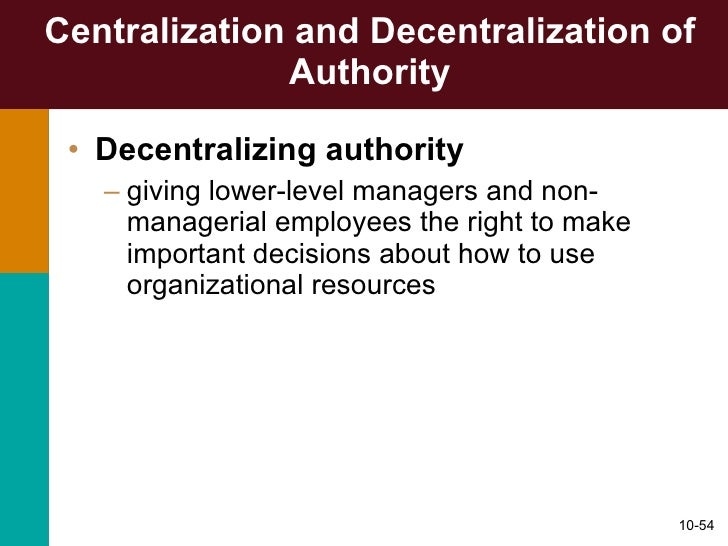 decentralization of authority in management