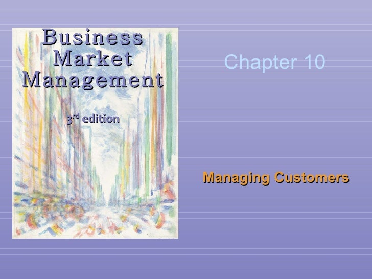 Business Market Management 3 rd  edition Managing Customers Chapter 10
