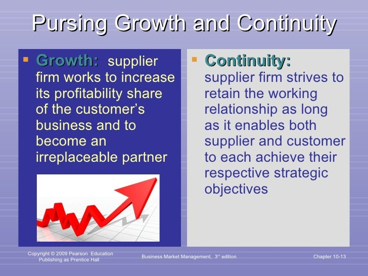 Pursing Growth and Continuity <ul><li>Growth:  supplier firm works to increase its profitability share of the customer's b...