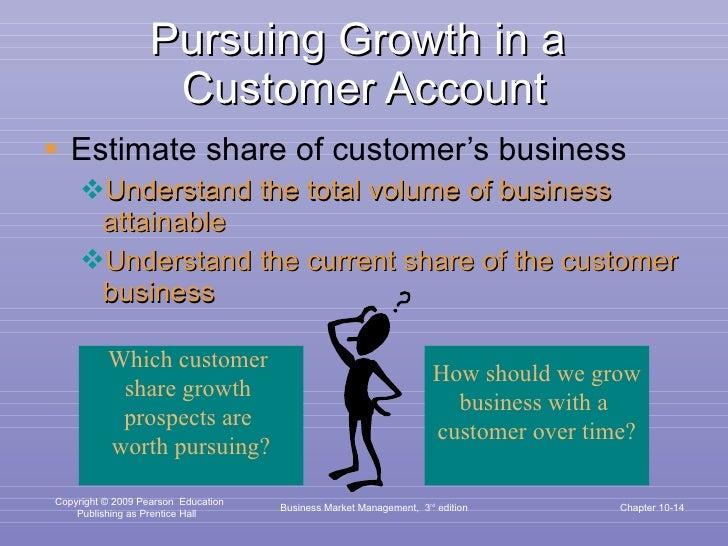 Pursuing Growth in a  Customer Account <ul><li>Estimate share of customer's business </li></ul><ul><ul><li>Understand the ...