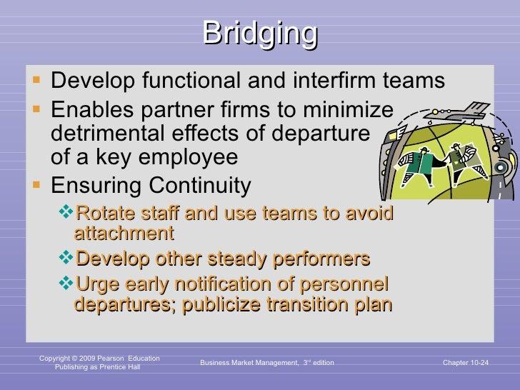 Bridging <ul><li>Develop functional and interfirm teams </li></ul><ul><li>Enables partner firms to minimize detrimental ef...