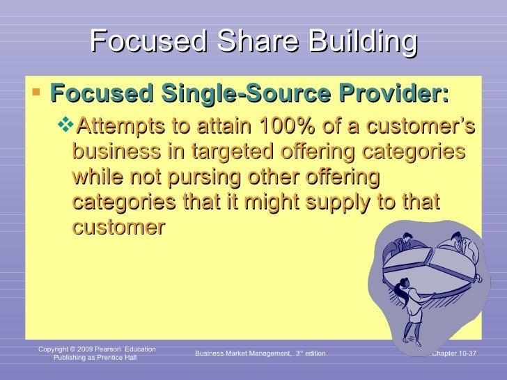 Focused Share Building <ul><li>Focused Single-Source Provider: </li></ul><ul><ul><li>Attempts to attain 100% of a customer...