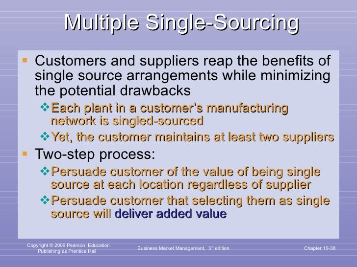 Multiple Single-Sourcing <ul><li>Customers and suppliers reap the benefits of single source arrangements while minimizing ...
