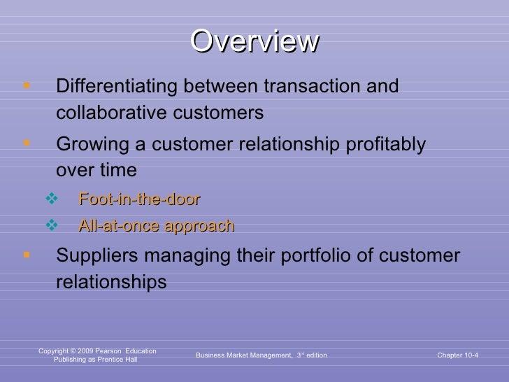 Overview <ul><li>Differentiating between transaction and collaborative customers </li></ul><ul><li>Growing a customer rela...