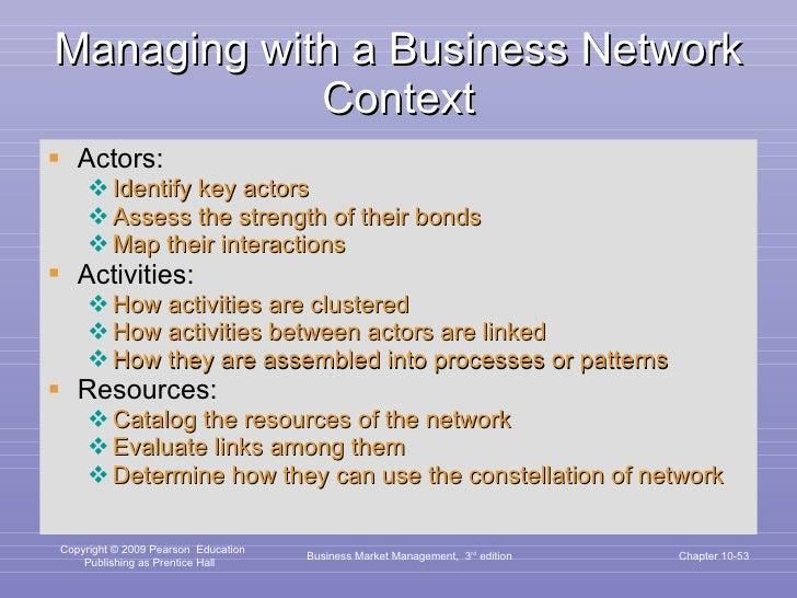 Managing with a Business Network Context <ul><li>Actors: </li></ul><ul><ul><li>Identify key actors </li></ul></ul><ul><ul>...