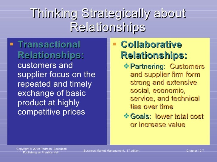 Thinking Strategically about Relationships <ul><li>Transactional Relationships:  customers and supplier focus on the repea...