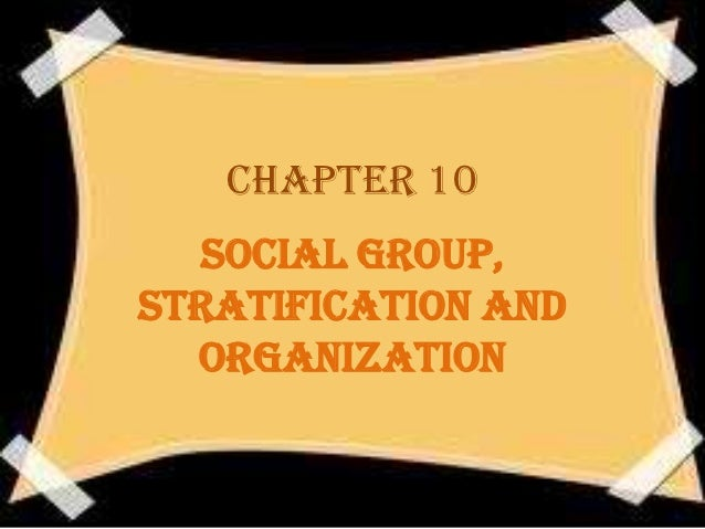 CHAPTER 10  SOCIAL GROUP,STRATIFICATION AND  ORGANIZATION